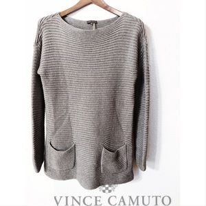 Vince Camuto deep ribbed knit pocketed pullover
